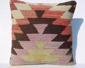 "MODERN Bohemian Home Decor,Handwoven Turkish Kilim Pillow Cover  16"" X 16"",Decorative Kilim Pillow,Vintage Kilim Pillow,Throw Pillow"