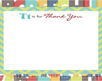 2nd Birthday Alphabet Thank You Note Card