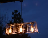 Vintage Industrial Wire Basket Light/Chandelier with 3 Vintage Style Bulbs Included