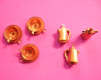 3 Pr. Vintage Coppercoated Coffee Pot and Cup and Saucer Charms