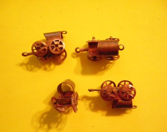 4 Vintage Coppercoated 22mm Moveable Baby Carriage Charms