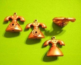 6 Vintage Coppercoated 20mm Moveable Telephone Charms