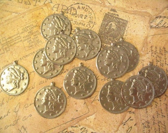 12 Vintage 24mm Steel Roman Coin Charms