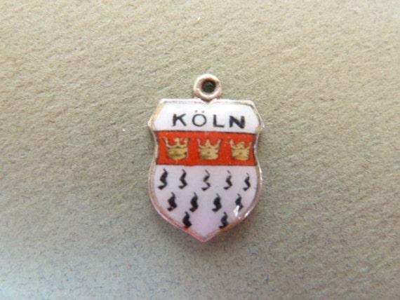 Souvenir Travel Shield Charm   Silver and enamel Koln Germany