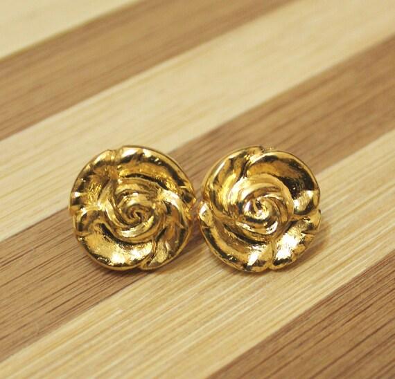 Gold Stud Earrings, Flower Stud Earrings