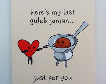 Funny Indian Food-inspired Greetings Card - Gulab Jamun