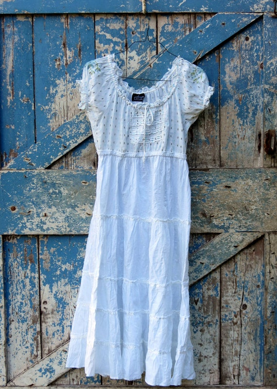 Happily Ever After Peasant Dress/ upcycled babydoll dress/ eco friendly white boho dress