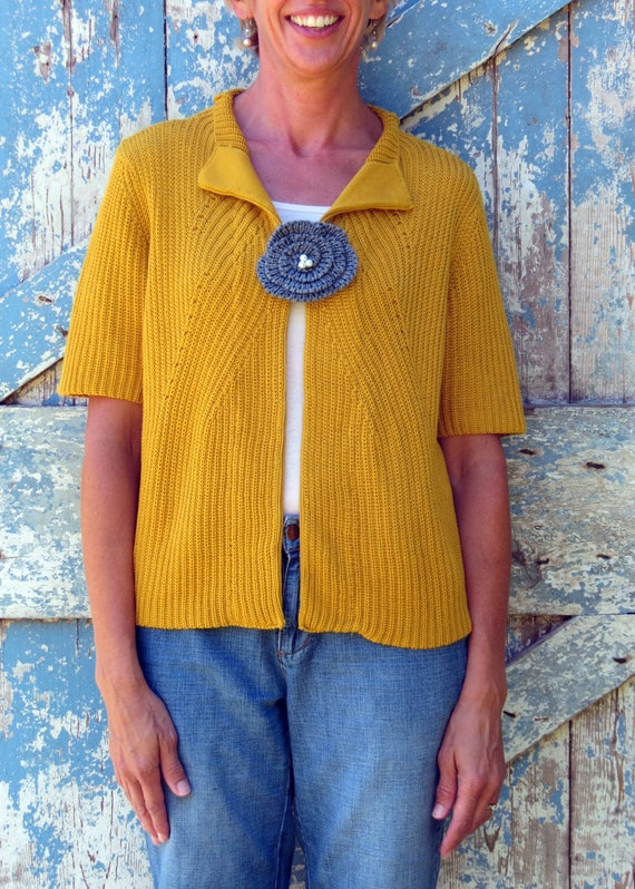Golden Delicious Cardigan/ upcycled golden shortsleeved sweater/ eco friendly cardigan