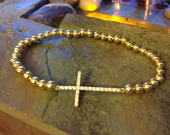 CZ Sterling silver cross in gold tone with 4mm 14K gold plated beads