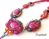 Soutache necklace with semi precious crazy lace agate stones in fuchsia, soutache jewelry, soutache in handmade, soutache necklace