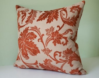Beige and  rust red damask decorative throw pillow cover / red pillow case / red cushion cover / rust cushion / rust pillow - 18 x 18 inches