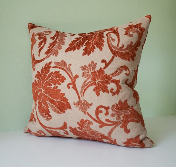 Items similar to Beige and rust red damask decorative throw pillow cover / red pillow case / red ...