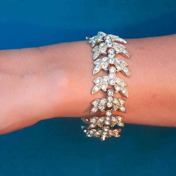 Signed Sarah Coventry Crystal Rhinestone Bracelet