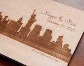 Custom Wedding guest book wood rustic wedding guest book album bridal shower engagement anniversary - NY City Wedding