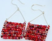 Sterling Silver and Glass Bead Rectangle Earrings - LesleyPridgen