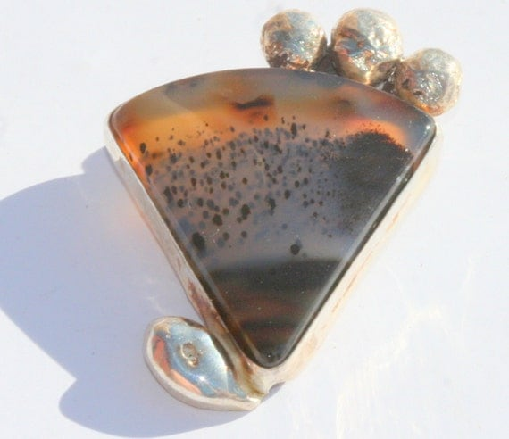 Reserved for Sarah---OOAK Reticulated Sterling Silver Pendant with Montana Agate