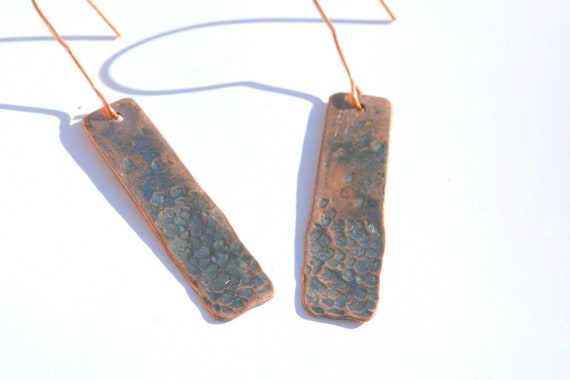 Hammered Copper Long Rectangle Earrings