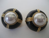 Signed 'JC' Earrings with Pearls and Gold