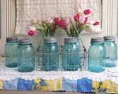 6 Vintage Aqua Blue Quart Sized Ball Perfect Mason Jars with Rustic Zinc Lids
