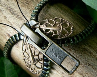 Steampunk Moth Zipper Bracelet - Chain Cuff - Steampunk Jewelry