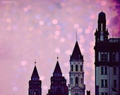 Flagler College - 8x10 Pink bokeh towers historic girly photography print home nursery decor wall art st augustine travel photo gift glitter