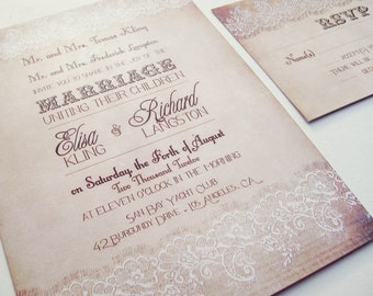 Country Wedding Invitation - Country Lace wedding invitation - Rustic Lace invitation {Dallas design}