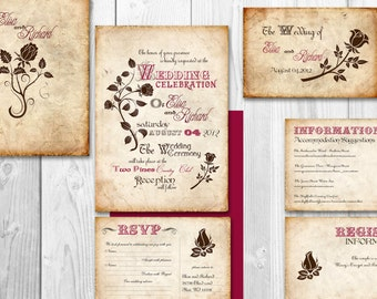 Printable Vintage Wedding Invitation - Fairytale wedding invitation template {Richmond design}