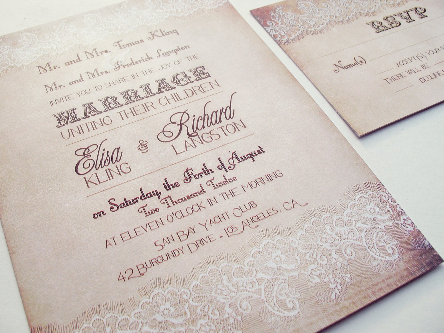 Country Wedding Invitation Country Lace Wedding Invitation
