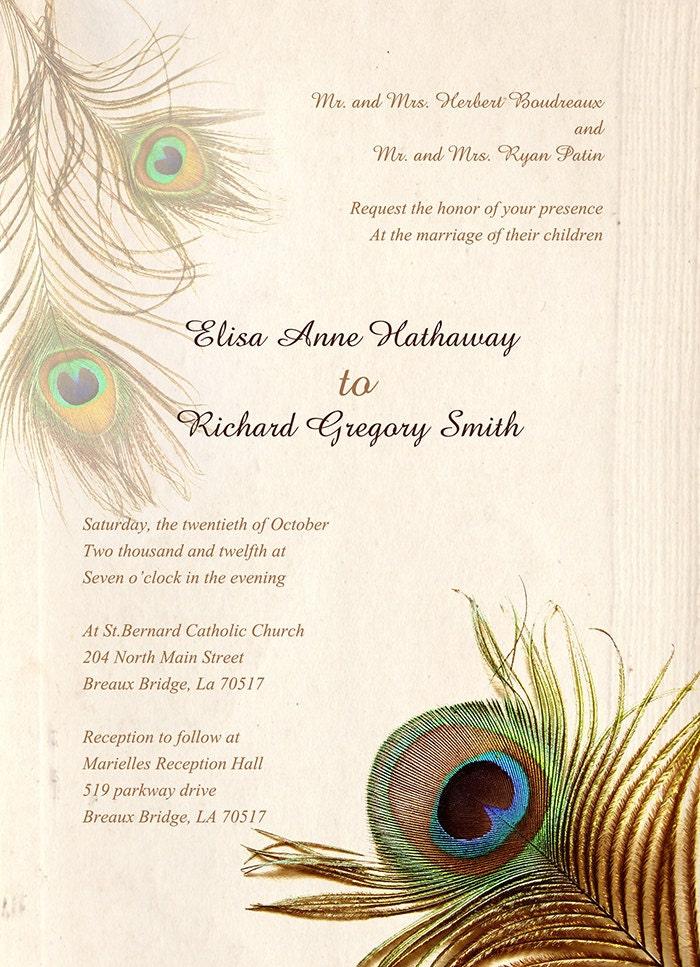 peacock wedding invitations vintage wedding invitations with