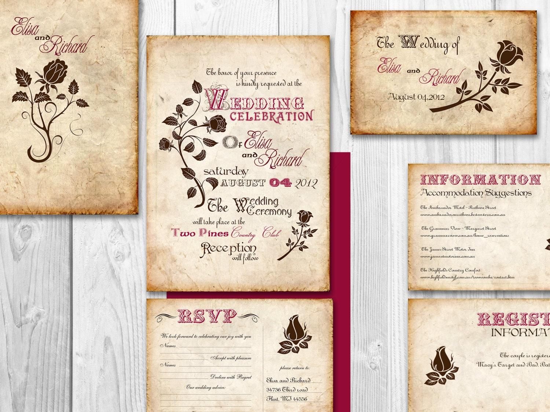 Printable Vintage Wedding Invitation By DesignedWithAmore On Etsy
