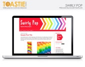 Blogger Template Swirly Pop - colourful red and rainbow chevron design