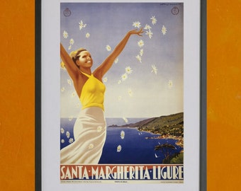 Santa Margherita Ligure Travel Poster- 8.5x11 Poster Print - also available in 13x19 - see listing details