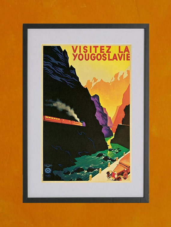 Visit Yugoslavia -  Retro Travel Poster, 1935 - 8.5x11 Poster Print - other sizes available - see listing details
