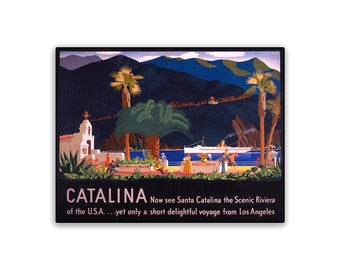 Vintage Travel Poster Catalina 10.5x8 PopMount Ready to Hang FREE SHIPPING