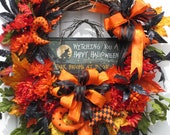 Halloween Wreath, Witch Wreath, Fall Wreath, Door Wreath, Floral Wreath, Hand Made Halloween ornaments, Bright orange and Black color scheme