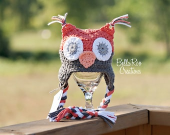 Coral and Gray Owl Hat