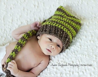 Crochet Elf Hat Brown and Green