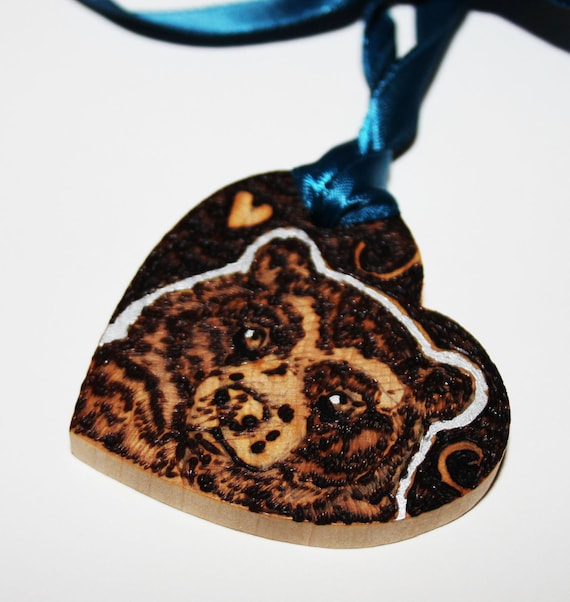 Pyrography Wood Burning -  Spectacled Bear Love Token - Wooden Heart Gift