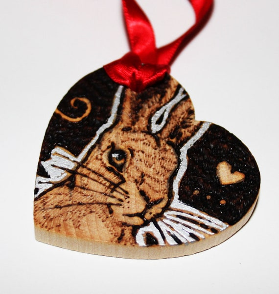 Personalised Pyrography -  Bracken the Hare Love Token - Wooden Gift Tag