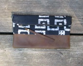 cotton and leather clutch, fold-over clutch, batik