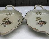 2 Vintage ROYAL COPENHAGEN Leaf Shaped Dish Plate Platter Tray
