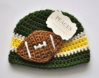 Football Beanie - Green, White & Yellow Baby Football Hat ( newborn gift preemie hat newborn costume babyshower newborn beanie baby hats )