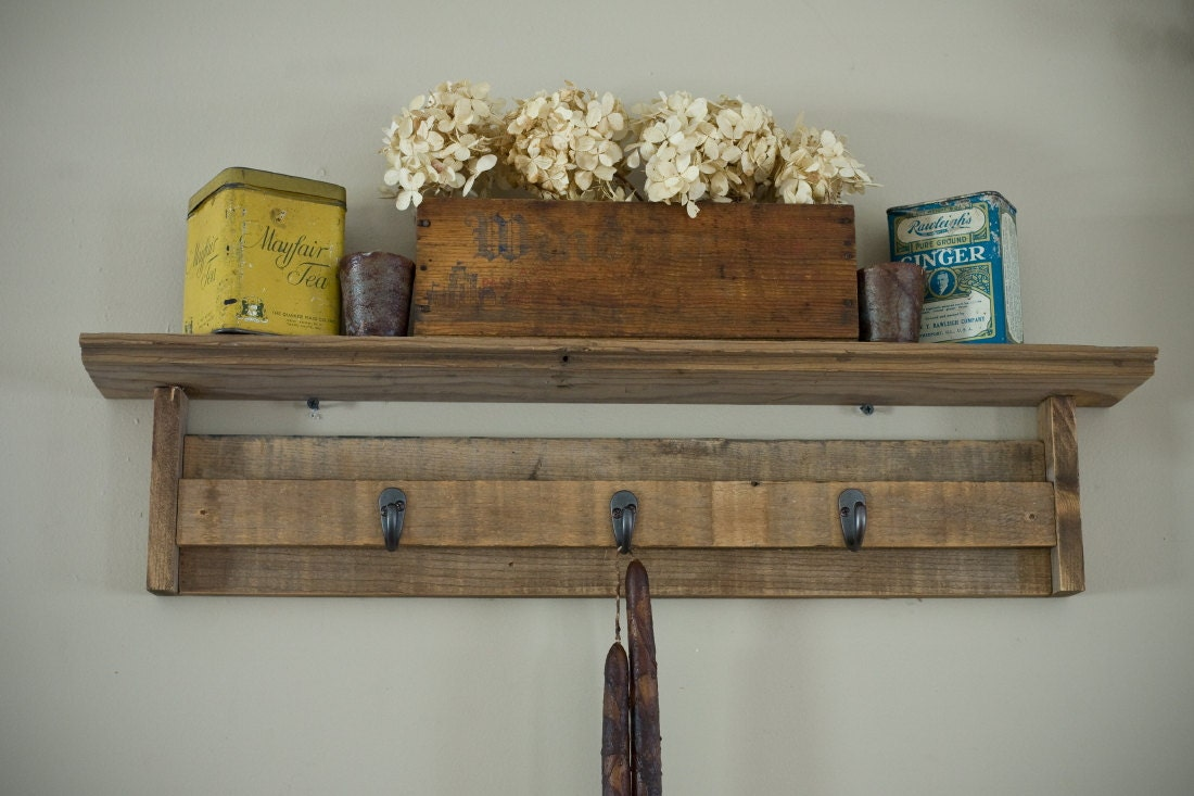 Reclaimed barnwood shelf with hooks