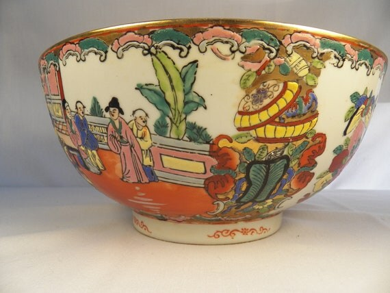 Qianlong Marked Canton Famille Rose Medallion Large Serving Bowl- Chinese Porcelain Hand Painted Footed Mandrin Oriental Pottery Signed