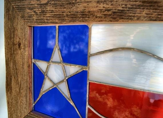 Texas Flag Stained Glass Window Barnwood Frame
