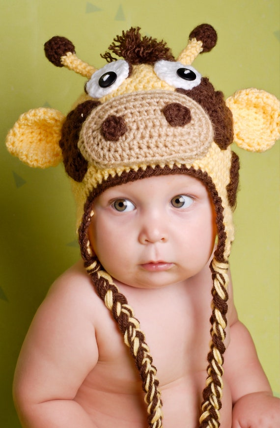 Crochet Hat Pattern Baby Giraffe Beanie Hat : Items similar to Gary The Giraffe Crochet Hat Pattern (all ...