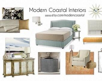 Custom Styleboard / Moodboard - Coastal Bedroom (example) - Interior Design, E-Design - One Board per Room - Mood / Style / Design Board