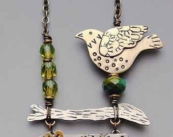 Bird on Branch with Crystal Beads- Joyful Bird on a Branch Necklace- Bird necklace  RP0317NK