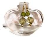 Green and Gold Beaded Earrings, moss green earrings, moss green jewelry
