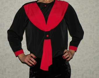 Black Shirt With Red Ribbon